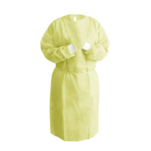 Yellow Isolation Gown (Knitt Cuff)