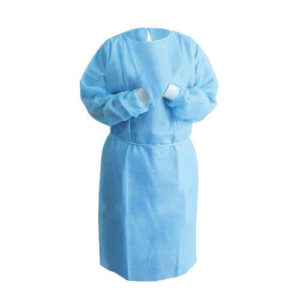 Blue Disposable Isolation Gown (SMS, Knit Cuff)