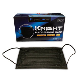 Black ASTM Level 2 KNIGHT 4-Ply Disposable Ear Loop Masks