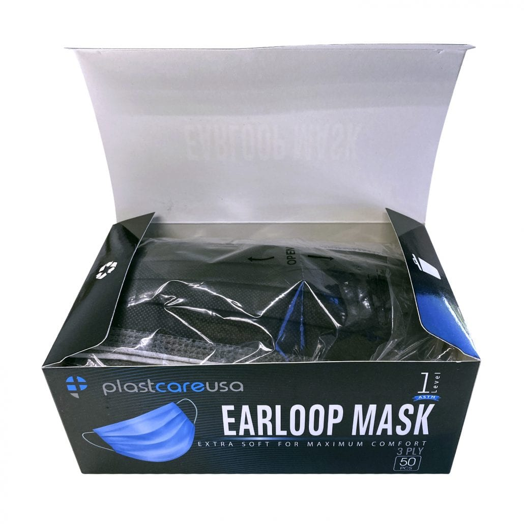 ASTM Level 1 Disposable Ear Loop Masks - Black