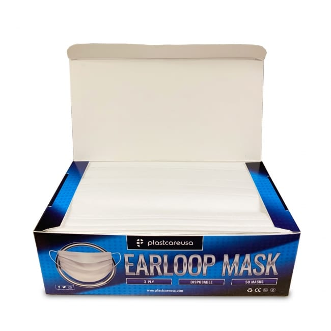 3-Ply Disposable Ear Loop Masks - White
