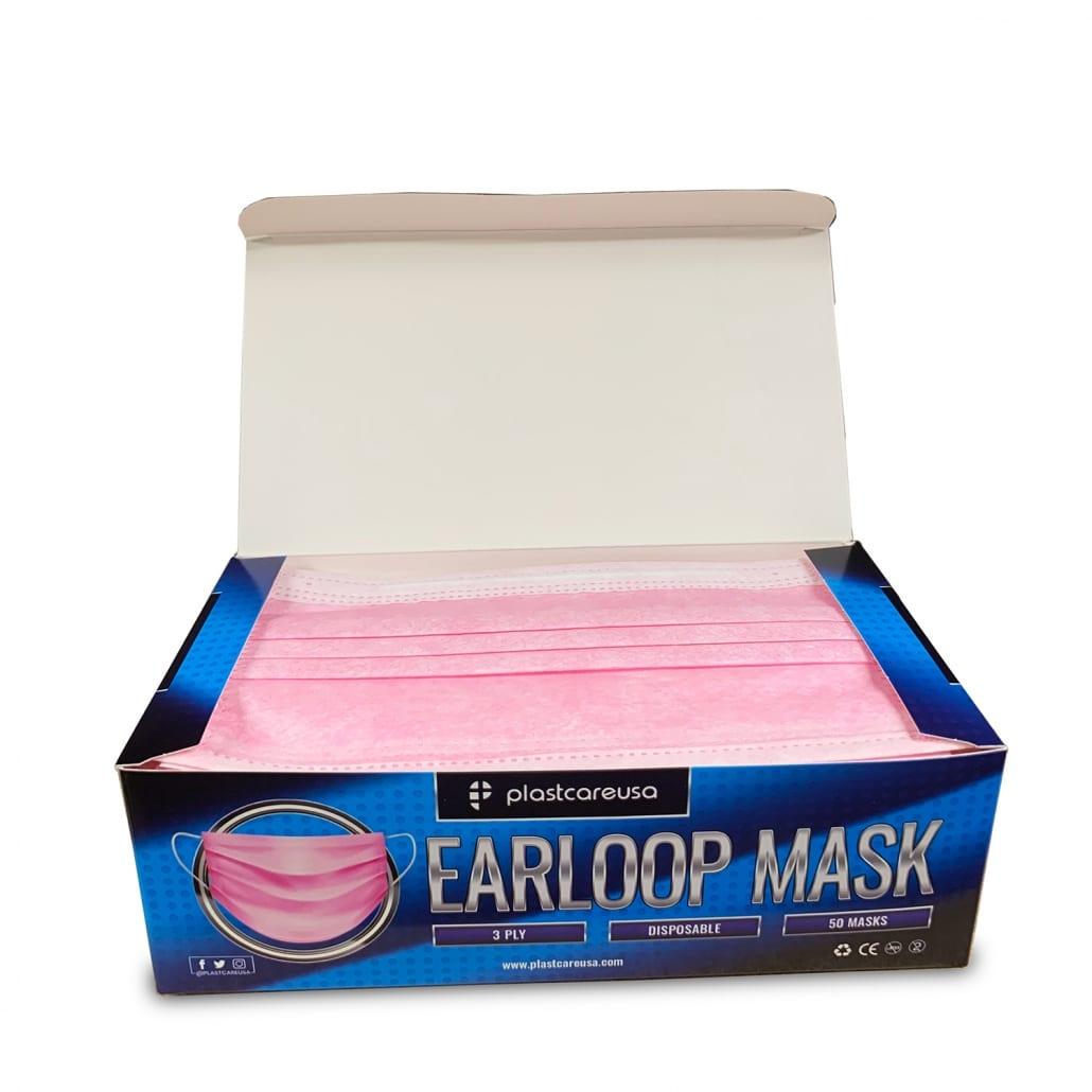 3-Ply Disposable Ear Loop Masks - Pink