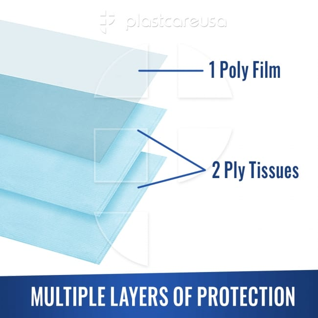 "3-Ply 13"" x 18"" Disposable Waterproof Patient Bibs"