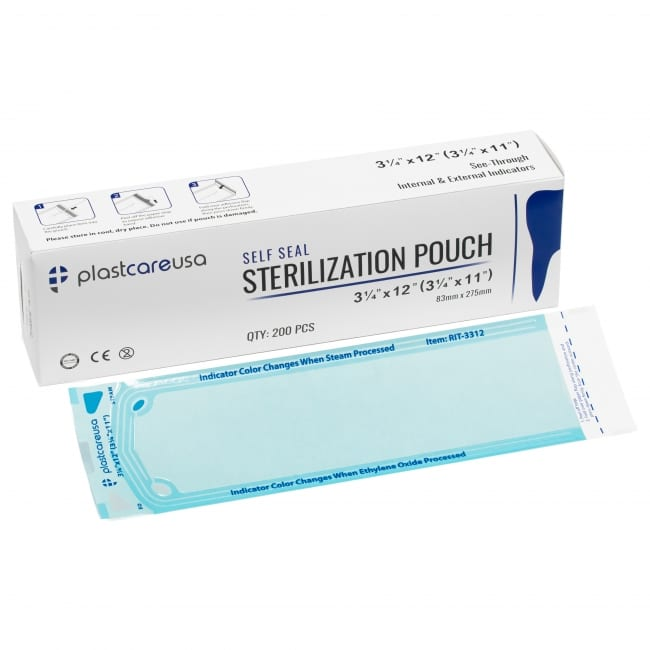"3.25"" x 12"" Self-Sealing Sterilization Pouch"