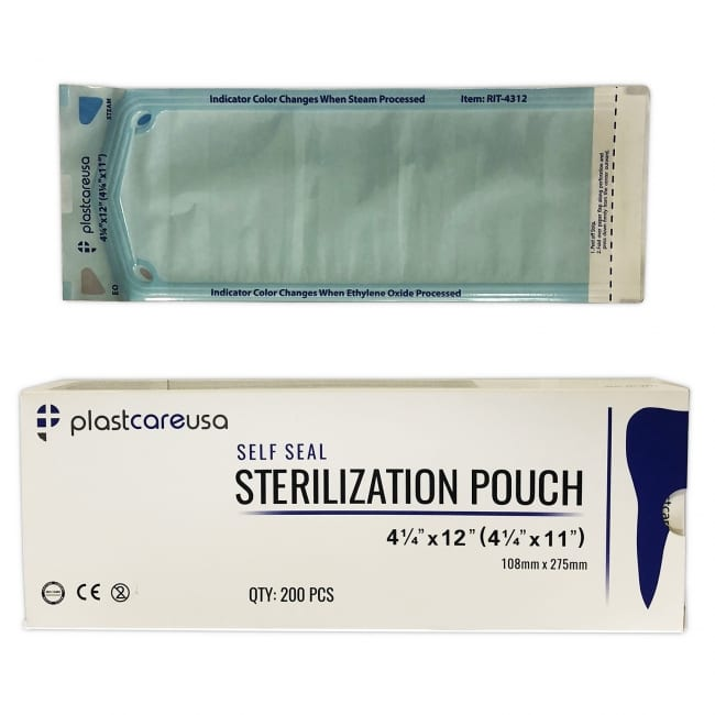 "4.25"" x 12"" Self-Sealing Sterilization Pouch"