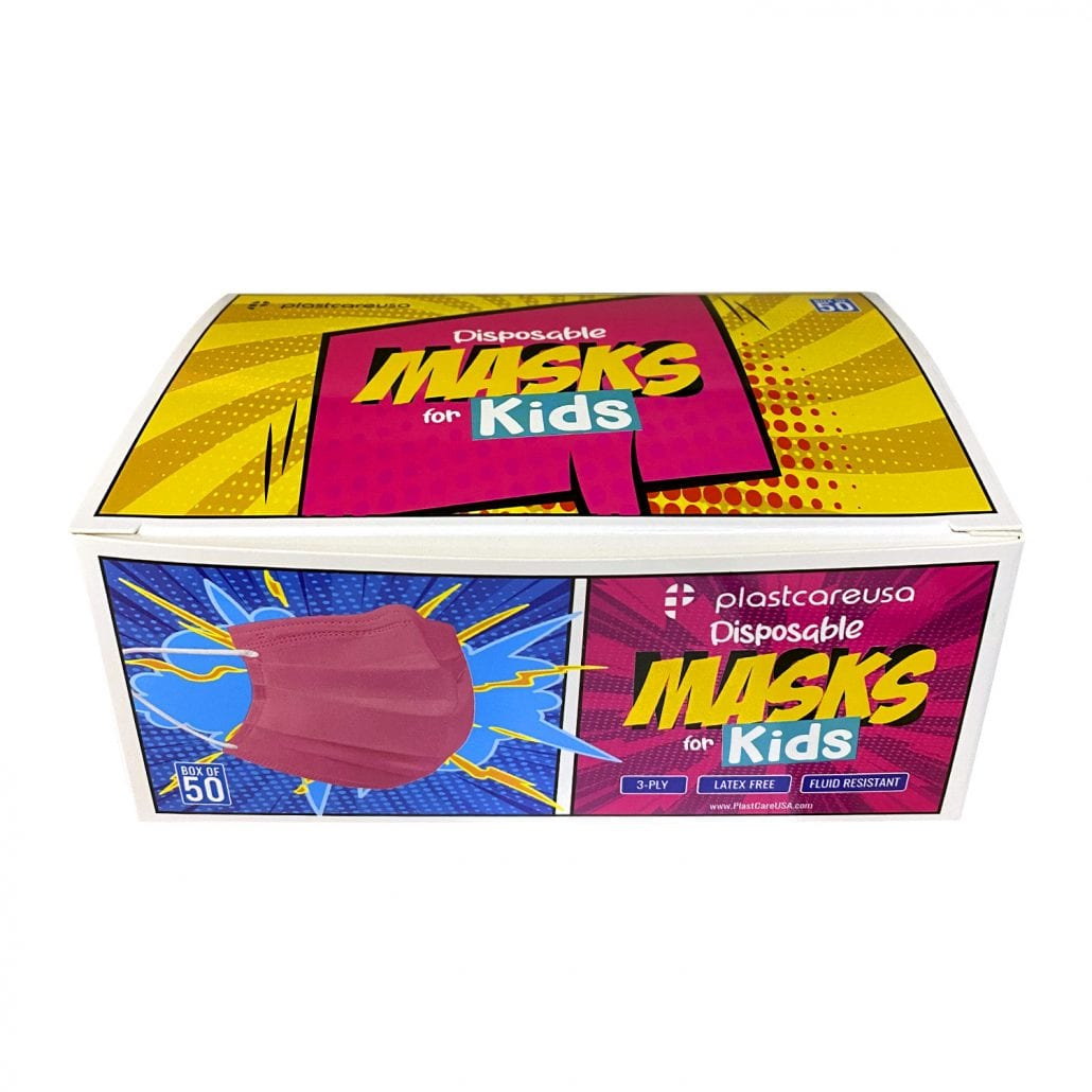 Kids 3-Ply Surgical Face Masks Pink 4