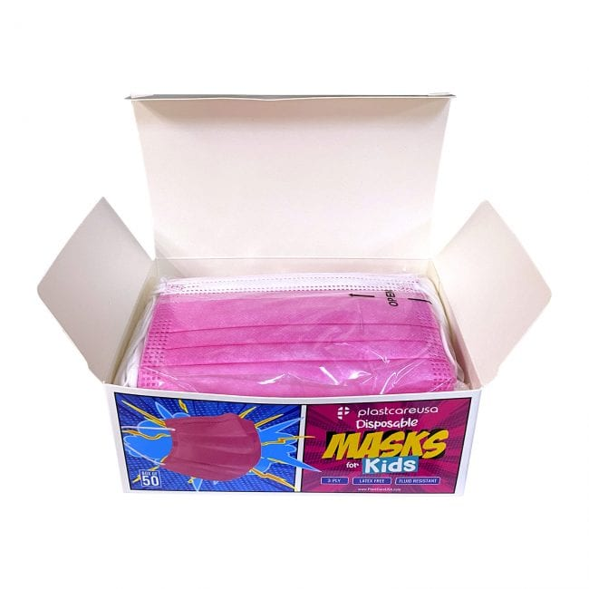 Kids 3-Ply Surgical Face Masks Pink 1