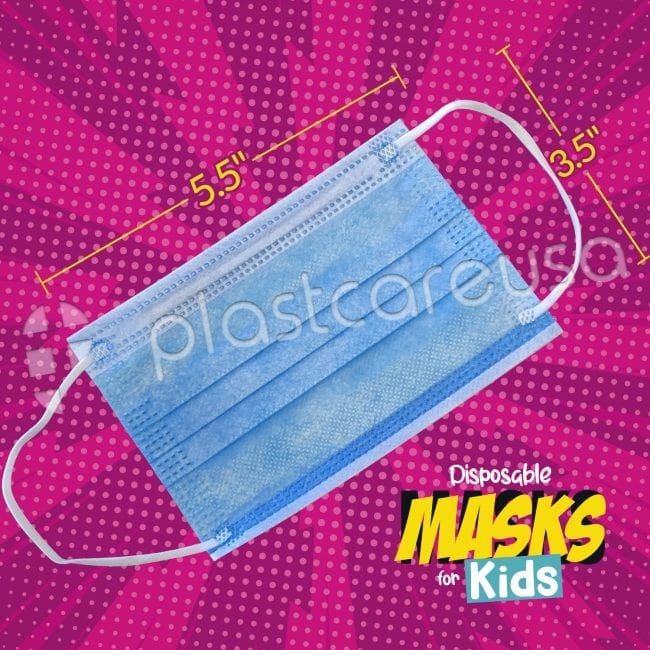 Kids 3-Ply Surgical Face Masks Blue 2