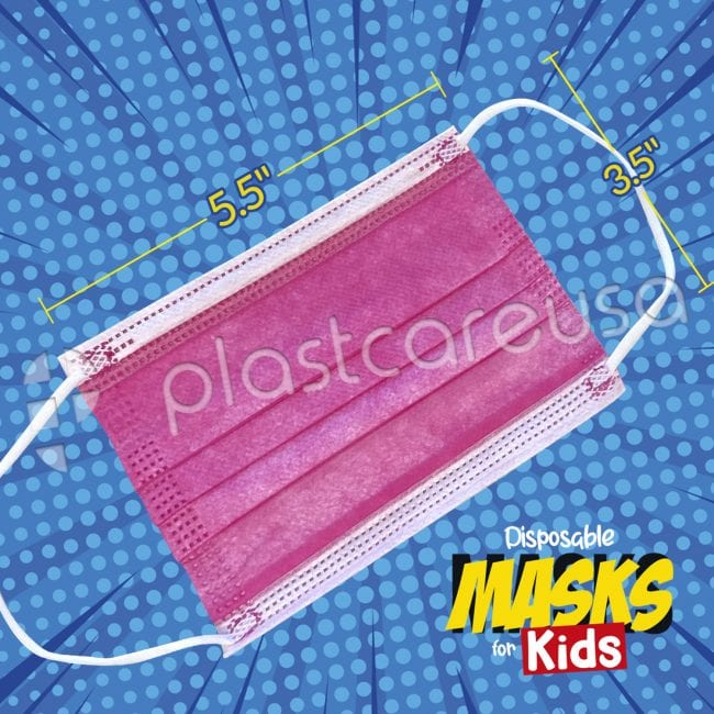 Kids 3-Ply Surgical Face Masks Pink 2